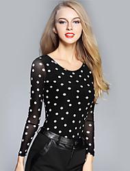 BOMOVO® Femme Col Arrondi Manche Longues T-shirt Noir-B16QA95