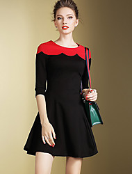 Women's Going out / Party/Cocktail Street chic Skater Dress,Color Block Round Neck Above Knee ¾ Polyester All Seasons