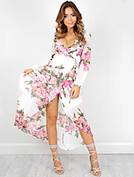 Women's Beach / Holiday Boho Chiffon Dress,Floral V Neck Maxi Long Sleeve White Polyester Summer