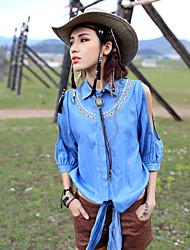 Aporia.As® Women's Shirt Collar Long Sleeve Shirt & Blouse Light Blue-MZ08034