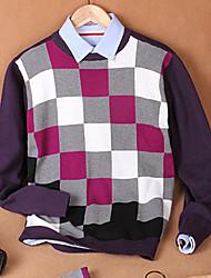 Herren Pullover-Verziert Freizeit Baumwolle Lang Lila / Grau