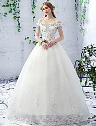A-line Wedding Dress Floor-length Off-the-shoulder Lace / Tulle with Beading / Lace