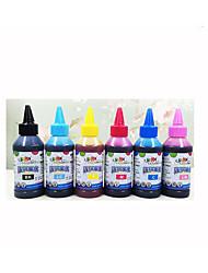 6 pour l'encre d'imprimante epson, chaque couleur (noir, rouge, jaune, bleu, rouge pâle, peu profonde bleu, 100 ml / couleur)