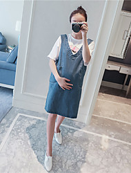 Maternity Casual/Daily Simple Loose Dress,Solid Round Neck Above Knee ½ Length Sleeve Blue Polyester Summer