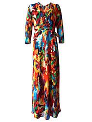 Women's Plus Size / Casual/Daily Boho Loose Dress,Print V Neck Midi Long Sleeve Black / Green / Yellow Polyester