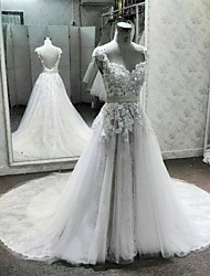 2017, uma linha de rainha de trem tribunal vestido de casamento anne laço / tule com apliques / fita / sequin