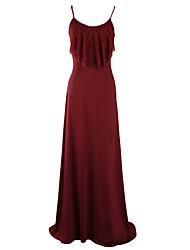 Balançoire Robe Femme Soirée Plage Soirée / Cocktail Sexy,Couleur Pleine A Bretelles Maxi Sans Manches Bleu Rouge NoirAcrylique Polyester