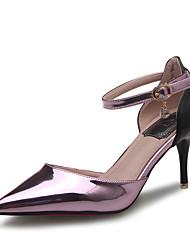 Damen-High Heels-Büro / Kleid / Lässig / Party & Festivität-Lackleder-Stöckelabsatz-Absätze / Spitzschuh / Sandalen-Lila / Silber