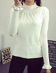 Normal Cardigan Femme Décontracté / Quotidien simple,Couleur Pleine Blanc Col Roulé Manches Longues Coton Automne Moyen