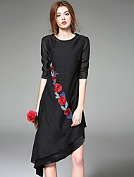 Boutique S Women's Going out Street chic Chiffon Dress,Embroidered Round Neck Asymmetrical ½ Length Sleeve Polyester