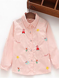 Girl's Casual/Daily Floral Tee,Cotton Spring / Fall Pink / White