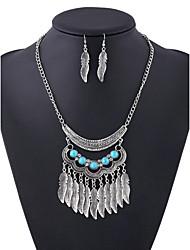 Retro Fashion Long alloy Leaf Tassel Diamond Necklace Set
