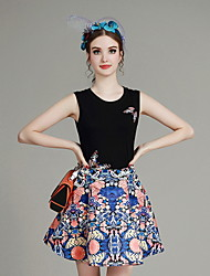 MIUCO  Casual/Daily / Work Simple Summer Set,Print / Embroidered Round Neck Sleeveless Black Polyester Thin