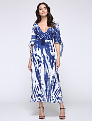 New Boho Maxi Dress Contrast Print Deep V-Neck Side Zipper 3/4 Sleeve Beach Evening Party Long