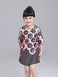 KIMOCAT  Girl's Casual/Daily Floral Dress,Cotton Spring / Fall Pink