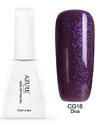 Azure 12ml Purple Gel Polish Glitter Color Gel Soak Off UV Nail Lacquer