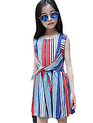 Girl's Casual/Daily Striped Dress,Cotton Summer Red / Yellow