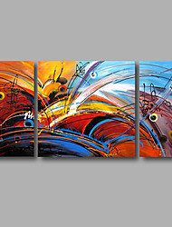 "Stretched (Ready to hang) Hand-Painted Oil Painting 56""x28"" Canvas Wall Art Modern Abstract Orange Blue"