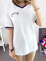 Tee-shirt Aux femmes,Lettre Décontracté / Quotidien / Grandes Tailles Chic de Rue Eté Manches Courtes Col en V Bleu / Blanc Coton Moyen