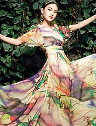 BORME® Women's Round Neck Bohemia Floral Print Maxi Dress-W025