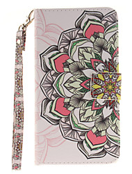 Painted Half Flower Pattern Card Can Lanyard PU Phone Case For LG G3 G4 G5 K7 K8 K10