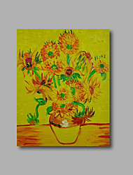 Stretched (Ready to hang) Hand-Painted Oil Painting Canvas Abstract Van Gogh repro Yellow Sunflowers Mini Size