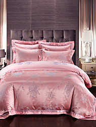 Luxury Silk Pink Cotton Blend Duvet Cover Sets Queen King Size Bedding Set