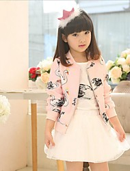 Girl's Casual/Daily Print Dress / Blouse / Clothing Set,Cotton / Rayon Winter / Spring / Fall Blue / Pink