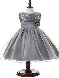 Ball Gown Tea-length Flower Girl Dress - Tulle Sleeveless Jewel with Flower(s) / Lace / Sequins