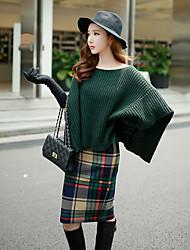 dabuwawa mujeres de salir / casual / vendimia vacaciones / sofisticada suéter regular de longitud neck½ ronda punk /,