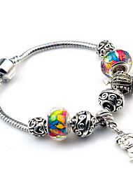 Retro Silver DIY Bead Strand Charm Bracelet with Dog Animal Pendant