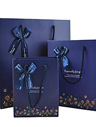 The Dark Blue Background Flowers Bow  Gift Bags Gift Bags Business Boutique Can Be Customized A Package Of Five