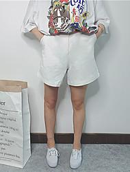 Mulheres Calças Simples Shorts Algodão Sem Elasticidade Mulheres