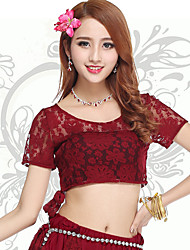 Belly Dance Tops Women's Training Polyester Lace 1 Piece Belly Dance Short Sleeve Natural Top