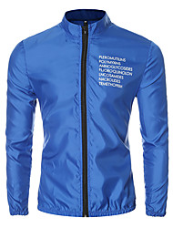 Men's Long Sleeve Casual / Sport JacketCotton / Polyester Letter Black / Blue / Red / White