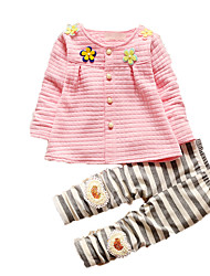 Girl's Casual/Daily Print Clothing Set,Cotton Fall Pink / White / Yellow