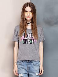 Herz Soul® Damen Rundhalsausschnitt Kurze Ärmel T-Shirt Grau-24AD21991