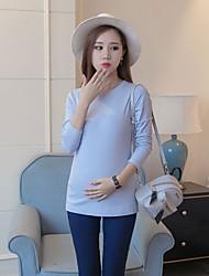 T-shirt Maternità Increspato Rotonda Manica lunga Cotone