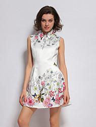 stephanie femmes sortir gaine mignonne chemise col dressfloral mini-/ au-dessus du genou sans manches blanc