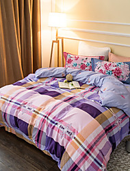 Purple plaid 800TC bedding sets Queen King size Bedlinen printing sheets pillowcases Duvet cover sanding Cotton Fabric