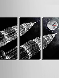 E-HOME® The Tall Buildings Under The Moon Clock in Canvas 3pcs