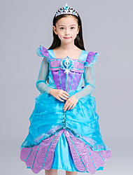 Ball Gown Tea-length Flower Girl Dress - Organza / Satin Long Sleeve Square with Crystal Detailing / Sequins