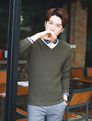 Мужской Однотонный Пуловер На каждый день,Хлопок,Длинный рукав,Коричневый