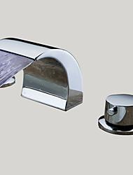 Contemporaneo A 3 fori LED / Cascata with  Valvola in ceramica Due maniglie Tre fori for  Cromo , Lavandino rubinetto del bagno