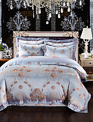 Beautiful flowers Luxury Silk Cotton Blend Duvet Cover Sets Queen King Size Bedding Set