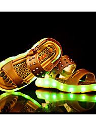 Para Meninos-Sandálias-Light Up Shoes-Rasteiro-Preto Branco Dourado Preto e Vermelho-Couro Ecológico-Casual