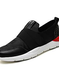 Herren-Sneaker-Lässig-Stretch - Satin-Flacher Absatz-Komfort-Schwarz Weiß