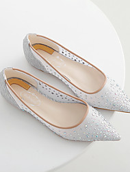 Women's Flats Spring Summer Fall Flats Fabric Casual Flat Heel Crystal Silver Nude Others
