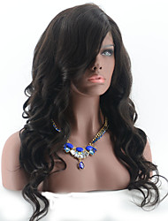 Side Part Brazilian Human Hair Full Lace Wigs With Bangs Glueless Body Wave Virgin Hair Lace Front Wigs Natural Color