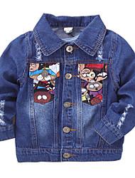 Boy's Cotton Spring/Autumn Fashion Cartoon Print Long Sleeve Cowboy Outerwear Baby Denim Jacket Coat